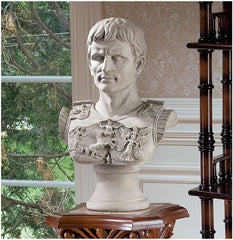 "18"" Antique Replica Augustus Caesar Primaporta Sculptural Bust Statue Sculpture"