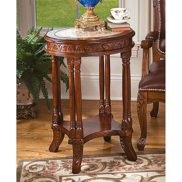 BALFOUR INLAID MARBLE COLONNADE TABLE