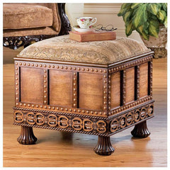 Medieval Hand-carved Treasure Box Ottoman with Storage/Jacquard Upholstery