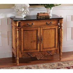 French Antique Replica Hand-carved Hardwood Natural Marble Topped Console