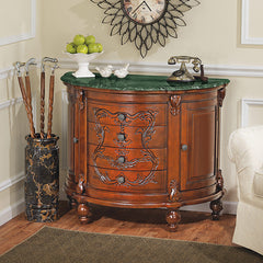 Hand Carved Solid Hardwood Marble Topped Console Foyer Table