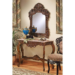 18th-century French Hand-carved Antique Replica Collection - Mirror and Marbl...