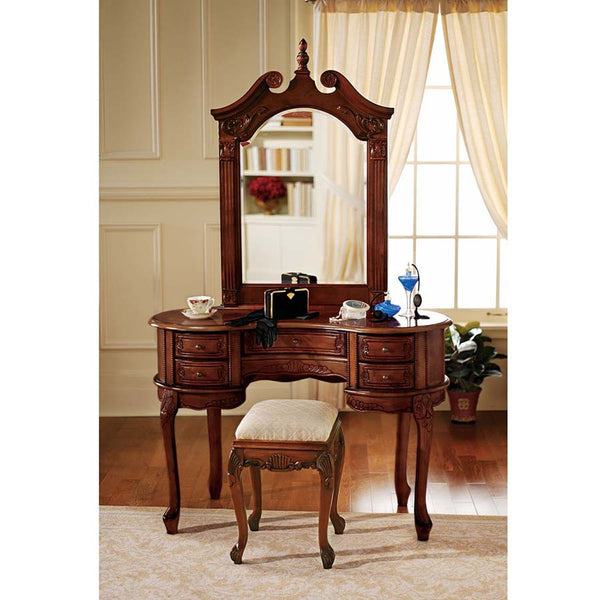 "32"" Hand-carved Solid Hardwood Mirror Anne Dressing Table and Mirror"