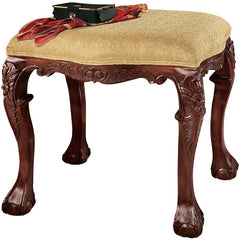 FRENCH BAROQUE UPHOLSTERED 4 LEG BENCH