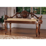 Hand Carved Solid Mahogany European Style Bench