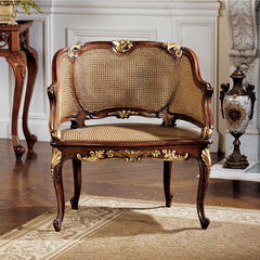 Handcarved solid mahogany 18th century antique replica French Rattan Chair