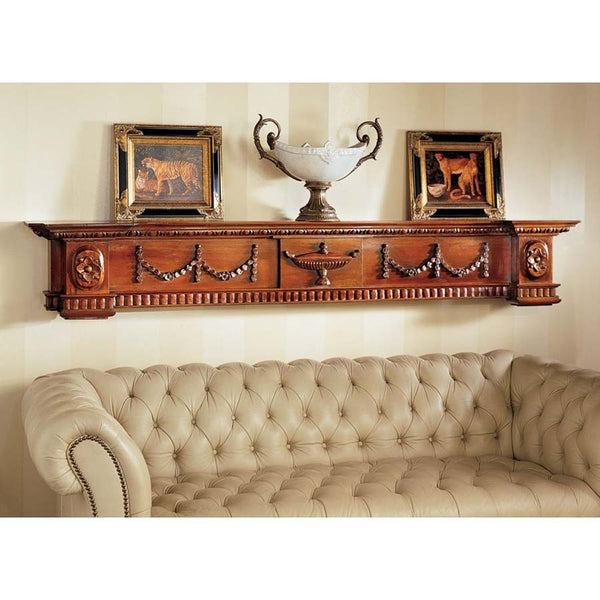 Hand Carved Solid Mahogany Replica Dunbridge Soupiere Wall Mantel Pediment