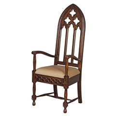 Medieval Gothic Solid Mahogany Cathedral Armchair