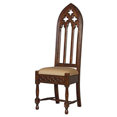 Medieval Gothic Solid Mahogany Wooden Cathedral Side Chair