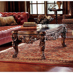 Hand-carved Solid Mahogany Antique Replica Raffles Grand Hall Lion Leg Coffee...