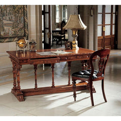 French Hand Carved Solid Mahogany Antique Replica Chateau Executive Desk Table