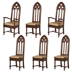 Medieval Handcarved Solid Mahogany Wooden Gothic Cathedral Chairs: Set