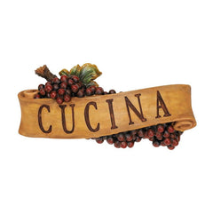 Italian Cucina Kitchen Grapes Sculptural Wall Plaque Decor