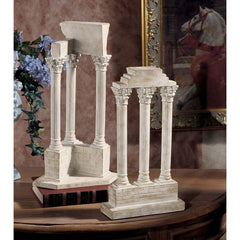 Roman Forum Columns Vespasian Temple Structure Statue Sculpture - Set of 2