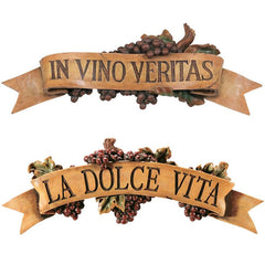 Italian La Dolce Vita & Vino Veritas Kitchen Grapes Wall Sculpture Decor - Se...