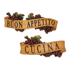 Italian Buon Appetito and Cucina Kitchen Grapes Sculptural Wall Plaque Decor ...