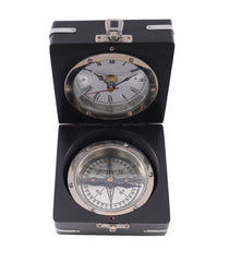 XoticBrands Decor Brass Compass & Clock W/Wooden Case