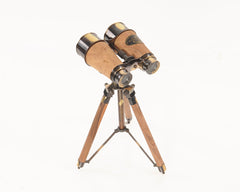 XoticBrands Decor Wood/Brass Binocular On Stand
