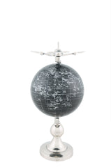 XoticBrands Decor Airplane On Globe W Brass Stand