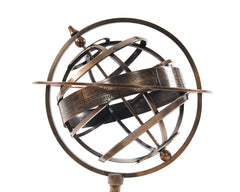 XoticBrands Decor Brass Armillary With Compass On Wood Base