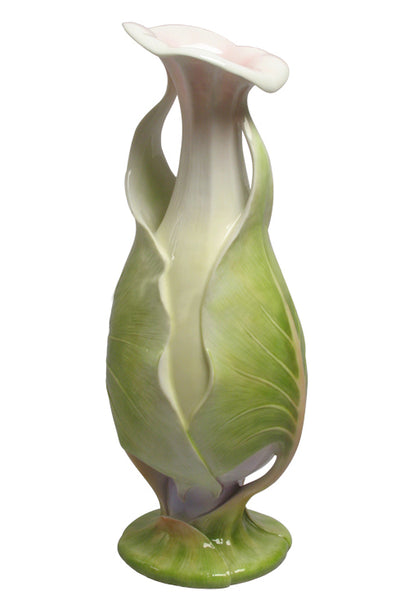 Dual Wrapping Lotus Leaves Vase - Calla Lily