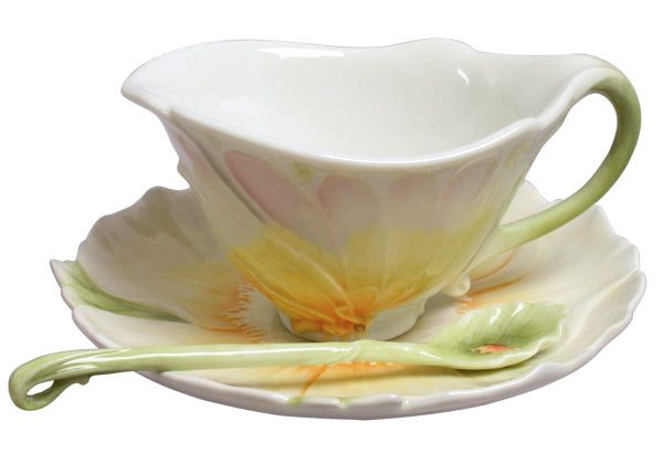 Butterfly Wing & Poppy Coffee Cup Set With Spoon - Home Accent.