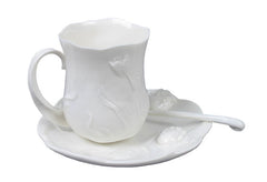 Tulip Coffee 3 Pcs Cup Set (White) - Home Accent.