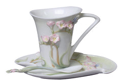 Freesia Coffee Cup Set With Spoon (Pink Flower) - Home Accent.