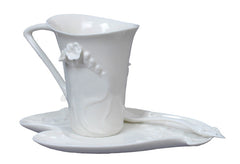 Freesia Coffee Cup Set With Spoon (White Flower) - Home Accent.