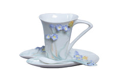 Freesia Coffee Cup Set With Spoon (Purple Flower) - Home Accent.