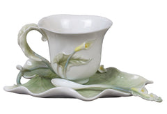 Calla Lily Coffee Cup Set With Spoon - Home Accent.