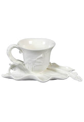 Calla Lily Coffee Cup Set With Spoon(Wht) - Calla Lily