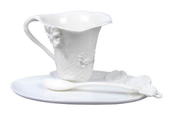 Poppy Coffee Cup Set With Spoon (White) - Home Accent.