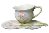 Lotus Coffee Cup Set With Spoon - Lotus