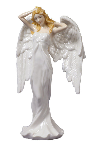 Guardian Angel - Angel Stroking Her Hair (White Dress) - Home Accent.
