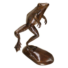 GIANT LEAPING FROG BRONZE STATUE