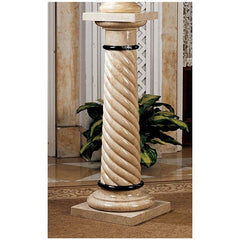 "39"" Bottochino Natural Stone Marble Column Pedestal Stand"