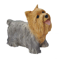 Grey Brown Yorkshire Puppy Dog Statue Sculpture Figurine