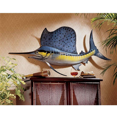 "22"" Classic Sea Sword Fish Wall Sculpture Statue Decor Accent"
