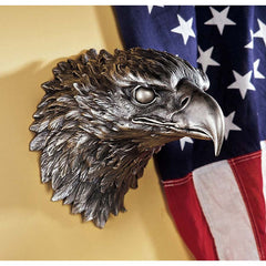 "10"" Classic Pewter Bald American Eagle Head Wall Sculpture Statue Décor Figurine"