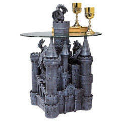 Castle Statue Sculpture Glass-topped Side Table