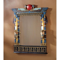 "24.5"" Classic Ancient Egyptian Accent Decorative Wall Mirror with Cobra Sculp..."