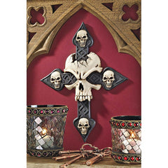 Gothic Skull Cross Wall Sculpture Statue