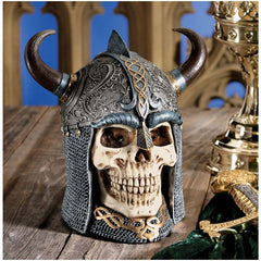 Gothic Medieval Warrior Skull Sculpture Figurine