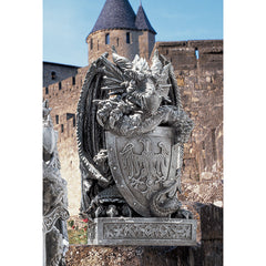 "17.5"" Medieval Gothic Dragon Shield Castle Statue Sculpture Figurine"