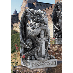 "17.5"" Medieval Gothic Dragon Sword Castle Statue Sculpture Figurine"
