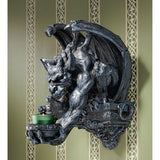 "13"" Dark Winged Dragon Gargoyle Statue Sculpture Wall Sconce Candle Holder"