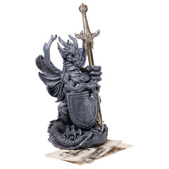 "8"" Desktop Medieval Gothic Dragon Statue Sculpture with Sword Knife Letter Op..."