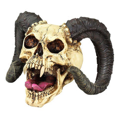 Gothic Halloween Decor Skull of Devilish Horned Beast Sculpture Statue
