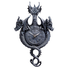 "22"" Gothic Medieval Dragon Sculpture Statue Decorative Wall Clock"